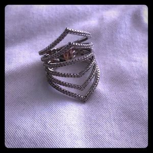 Silver plated crystal ring